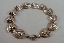 Vintage Signed BEAU Sterling Silver Tulip Link Bracelet