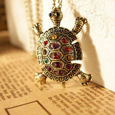 Vintage Turtle Necklace Pendant Personality Sweater Chain Rhinestone Crystal