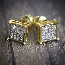 Gold Square Sterling Silver Screw Back Stud Earrings 7mm
