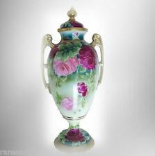 Royal Kinran Nippon vase with hand paint flowers - lid FREE SHIPPING
