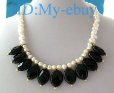 """Natural White Nugget Baroque Pearl&Faceted Oval Onyx Necklace 18"""""""