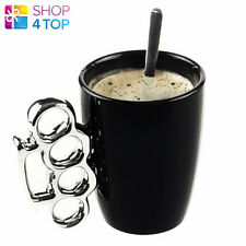 BRASS KNUCKLE DUSTER HANDLE MUG CUP COFFEE TEA BLACK CERAMIC SMALL MINOR DEFECTS