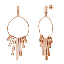 BERRICLE Rose Gold-Tone Bar Fashion Statement Dangle Drop Earrings