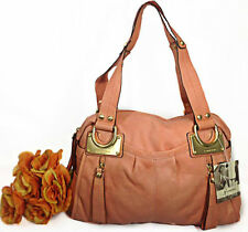NWT B. Makowsky Montgomery East/West Satchel Glove Leather  Tote Bag Papaya $340