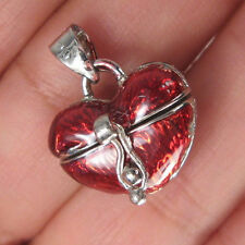 HEART LOCKET PRAYER BOX SILVER PLATED-RED ENAMEL PENDANT R26