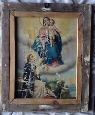 Antique 2 Oil Painting Christian Icon Church Maria Jesus St. John Gold Frame