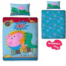 Peppa Pig George 'Roar' Reversible Panel Single Bed Duvet Quilt Cover Set Gift