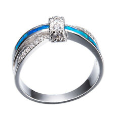 Criss Cross CZ Band Blue Fire Opal 10KT White Gold Filled Wedding Ring Size 4-12