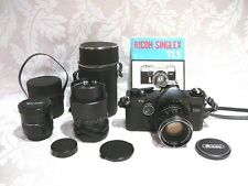RICOH SINGLEX TLS 35mm FILM CAMERA W/RIKENON 50mm & 135mm LENS +CONVERTER+MANUAL