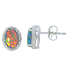 Black Opal & Diamond Oval Stud Earrings .925 Sterling Silver