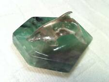 Gorgeous Quartz Crystal Dolphin and Spectacular  Green Fluorite Slab Base