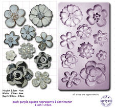 BROOCH JEWELLED FLOWER Craft Sugarcraft Fimo Resin Sculpey Silicone Mould