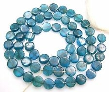 "NATURAL PEACOCK BLUE APATITE SMOOTH COIN BEADS 14.5"" STRAND  V40"