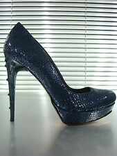 MORI ITALY PLATFORM HEELS PUMPS SCHUHE SHOES DECOLTE PYTHON LEATHER BLUE BLU 39