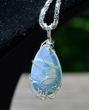 Opalite Sterling Silver Wire Wrapped Pendant with Silver Plated Chain