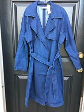New $149 Chico's Drama Denim Trench Coat Jacket Blue Jean Sz 3 = XL 16 / 18 NWT
