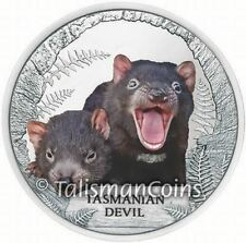 Tuvalu 2013 Endangered + Extinct #3 Tasmanian Devil $1 Pure Silver Proof Color