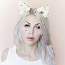 Cute black ribbon wrapped Ivory flower cat ears headband Kawaii