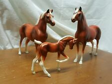 3 PC VINTAGE PLASTIC TOY HORSE SET BROWN WHITE MADE IN JAPAN FREE SHIPPING