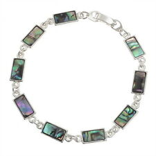 Two Tone Inlaid Paua Shell Rectangle Section Silver Bracelet
