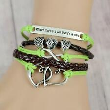 """Silver Plated Double Heart Infinity  Leather Cord Charms Bracelet 6.5""""-8"""""""