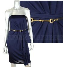 GUCCI COCKTAIL DRESS STRAPLESS RUFFLE DETAIL BLUE JERSEY HORSEBIT BELT XL