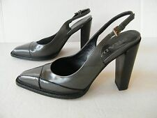 Women's Prada Grey Leather Sling Back Heels Pumps Shoes  Sz. 37 (6 1/2-7)