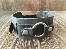 VINTAGE 1980'S PUNK ROCK HANDMADE BLACK LEATHER MENS NARROW WRISTBAND BRACELET