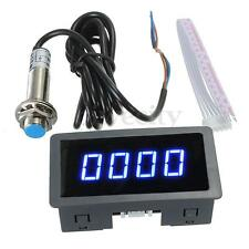 Blue 4 Digital LED Tachometer RPM Speed Meter + NPN Hall Proximity Switch Sensor