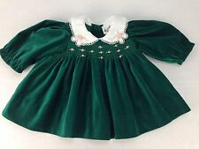 Baby Togs Smocked Christmas Dress Green Velvet Pink Roses Size 3-6 Months Cotton