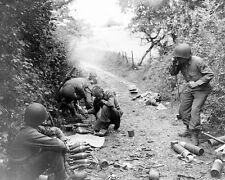 WW2 Photo WWII US Army 3rd Infantry Mortar Crew In Action Normandy / 1231
