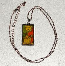 "TAROT CARD NECKLACE *THE SUN* CARD PROPHESY 18"" Chain Color WICCA NATURE OCCULT"