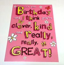YOU'RE CLEVER KIND GREAT Pink Text HOW ALIKE WE ARE! HAPPY BIRTHDAY CARD 5x7""