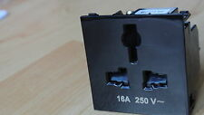 MK SX2837BLK ME Euro Unswitched International Socket Module 50x50mm Black 16A