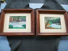 LOT 2 Vintage Folk Art Watercolor Landscape Paintings-1950'1960's- J.F.E-
