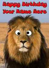 Lion Googly Eyes Birthday Card PIDG2 A5 Personalised Greeting dog