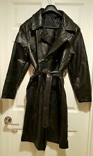 Genuine Leather Trench Coat Double Breasted Sz M Black Belted FREE SHIPPING