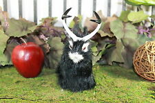 Black Jackalope Rabbit w/ Horns Easter Bunny Furry Animal Taxidermy Decor