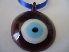 Glass Lamp Work Blue Evil Eye Protection Charm Hanging 50x39mm(Cola Border)