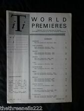 INTERNATIONAL THEATRE INSTITUTE WORLD PREMIER - JAN 1963 VOL 14 #4