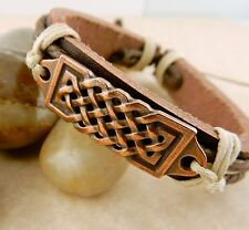 Unisex Adjustable Copper Celtic Knot Leather Bracelet
