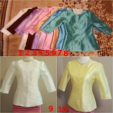 Thai Traditional  Synthetic Silk Blouse shirt Top Dress Outfits 10 colour.