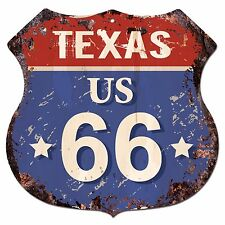 BP0716 TEXAS US 66 Shield Rustic Chic Sign  MAN CAVE Decor Gift