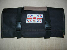"TRIUMPH TR-6 LOGO/British Flag Emblem Logo ""NEW ALL BLACK"" !!!!! TOOL ROLL"