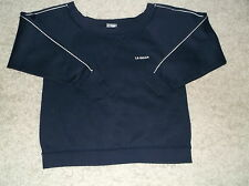 LADIES  WIDE NECK LONG SLEEVE L A GEAR FITNESS TOP. SIZE 14. NAVY see pic.