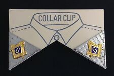 Masonic Collar Tip Set in Silver Plating with Gold Emblems (EES-9PC)