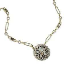 NEW SWEET ROMANCE OCEAN SEA STAR TWO TONE CRYSTAL NECKLACE  ~~MADE IN USA~~