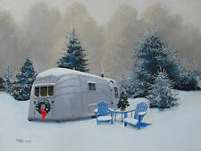 Vintage 1957 Airstream Overlander Travel Trailer CHRISTMAS RV Signed ART Print
