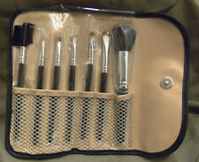 7 Piece Makeup Brush Set Kit in Trendy Black & White Leopard Case    *BRAND NEW*