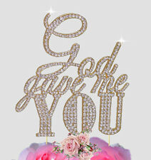 God Gave Me you Crystal Rhinestones Bling Gold Monogram Wedding Cake Topper